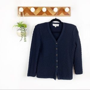 St John Collection | Navy Knit Button Up Cardigan